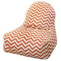 Majestic Home Goods Chevron Polyester Bean Bag Kick-It Chair in Burnt Orange