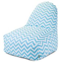 Majestic Home Goods Chevron Cotton Bean Bag Kick-It Chair in Tiffany Blue