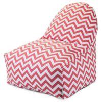 Majestic Home Goods Chevron Cotton Bean Bag Kick-It Chair in Coral