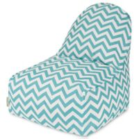 Majestic Home Goods Chevron Polyester Bean Bag Kick-It Chair in Teal