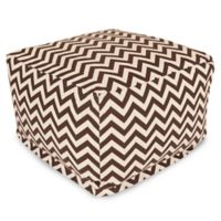 Majestic Home Goods Chevron Polyester Bean Bag Ottoman in Chocolate