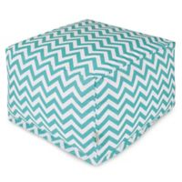 Majestic Home Goods Chevron Polyester Bean Bag Ottoman in Teal