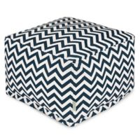 Majestic Home Goods Chevron Polyester Bean Bag Ottoman in Navy