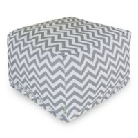 Majestic Home Goods Chevron Polyester Bean Bag Ottoman in Grey