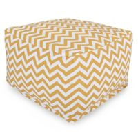 Majestic Home Goods Chevron Polyester Bean Bag Ottoman in Yellow