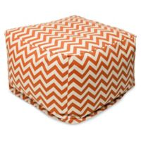 Majestic Home Goods Chevron Polyester Bean Bag Ottoman in Burnt Orange