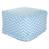 Majestic Home Goods Chevron Cotton Bean Bag Ottoman in Tiffany Blue