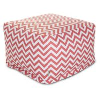 Majestic Home Goods Chevron Cotton Bean Bag Ottoman in Coral