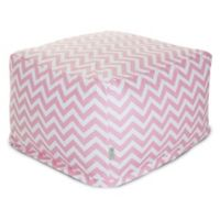 Majestic Home Goods Chevron Cotton Bean Bag Ottoman in Baby Pink