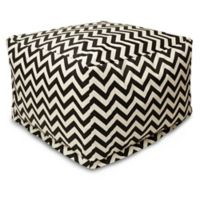 Majestic Home Goods Chevron Polyester Bean Bag Ottoman in Black