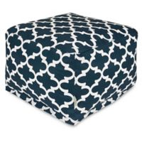Majestic Home Goods Trellis Bean Bag Ottoman in Navy