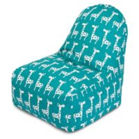 Majestic Home Goods Stretch Bean Bag Kick-It Chair in Turquoise