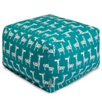 Majestic Home Goods Stretch Bean Bag Ottoman in Turquoise