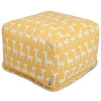 Majestic Home Goods Stretch Bean Bag Ottoman in Yellow