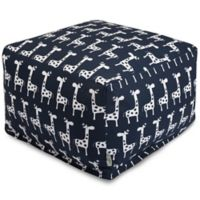 Majestic Home Goods Stretch Bean Bag Ottoman in Navy