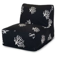 Majestic International Kick-It Coral Bean Bag Chair Lounger in Black