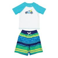 Floatimini Size 2T 2-Piece Toddler Stripe Surf Car Rashguard Set in White