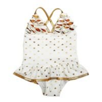 Floatimini Size 3T 1-Piece Toddler Gold Heart Ruffle Swimsuit in White