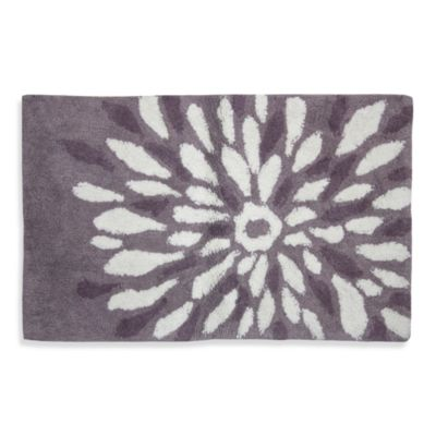 Delightful Lacey Purple Flower Power Bath Rug
