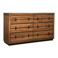 Alpine Furniture Live Edge 6-Drawer Dresser in Tobacco