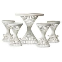 Hillsdale Furniture Kanister 5-Piece Counter Height Round Dining Set in White