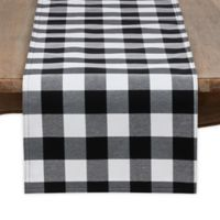 Saro Lifestyle Buffalo Plaid 72-Inch Table Runner in Black