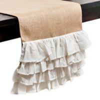 Saro Lifestyle 72-Inch Ruffled Burlap Table Runner in White