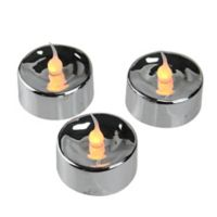 Battery Operated Flickering LED Tea Light Candles in Silver (Set of 3)