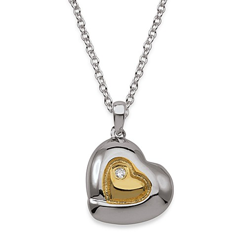 My First Diamond Sterling Silver and 18K Gold Diamond Heart Pendant Necklace