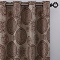 Medallion 63-Inch Grommet Window Curtain Panel in Mocha