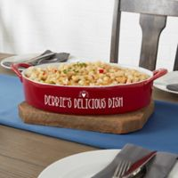 Made With Love 3 qt. Stoneware Oval Baking Dish in Red