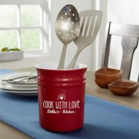 Made With Love Stoneware Utensil Holder in Red