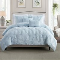 Swift Home Floral Pintuck Comforter Set in Baby Blue