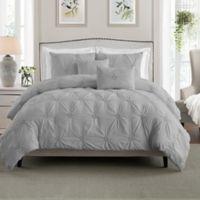 Swift Home Floral Pintuck Full/Queen Comforter Set in Grey