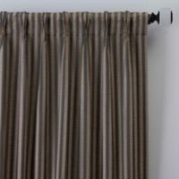 Rail Stripe 63-Inch Pinch Pleat Window Curtain Panel in Charcoal