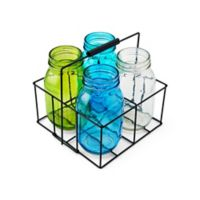 Elements by Pfaltzgraff® Mason Jar Tealight Holders With Caddy in Blue/Green (Set of 4)