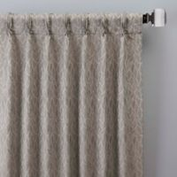 Sebille Jacquard 108-Inch Pinch Pleat Window Curtain Panel in Latte
