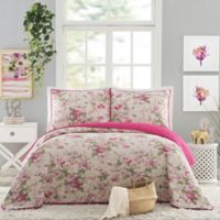 Jessica Simpson Beckett Reversible King Quilt Set in Pink
