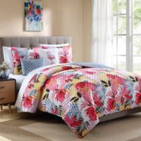 Lanai Tropical Reversible Full/Queen Quilt Set in Pink