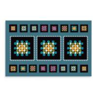Bungalow Flooring New Wave 18-Inch x 27-Inch Black Squares Kitchen Door Mat