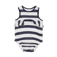 Splendid® Size 6-9M Stripe Ruffle Bodysuit in Navy