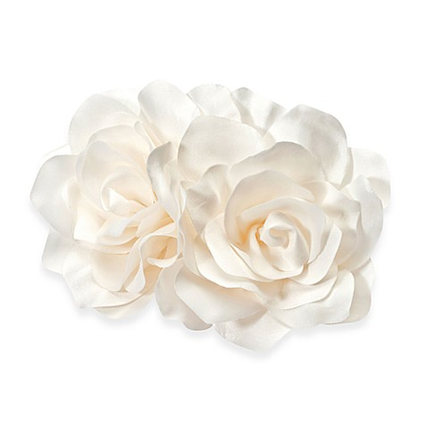 White Two Roses Flower Comb