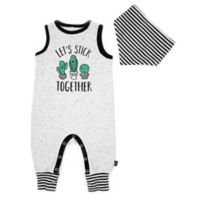 Mini Heroes Size 9M 2-Piece Stick Together Romper and Bandana Set in Grey