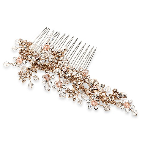 Gold Crystals Champagne Comb