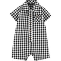 carter's® Size 6M Gingham Romper in Black/White
