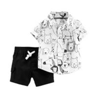 carter's® Size 9M 2-Piece Safari Animal Set in Black/White