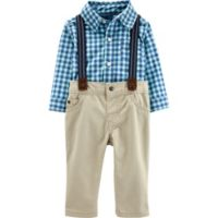 carter's® Size 18M 3-Piece Dressy Plaid Suspenders Set in Blue/Khaki