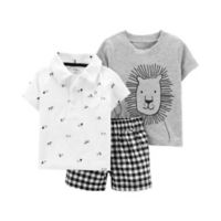 carter's® Size 18M 3-Piece Lion Shorts Set in Black/White