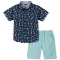 Nautica® Size 6-9M 2-Piece Sailboat Shirt and Shorts Set in Navy/Aqua