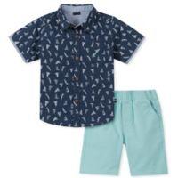 Nautica® Size 24M 2-Piece Sailboat Shirt and Shorts Set in Navy/Aqua